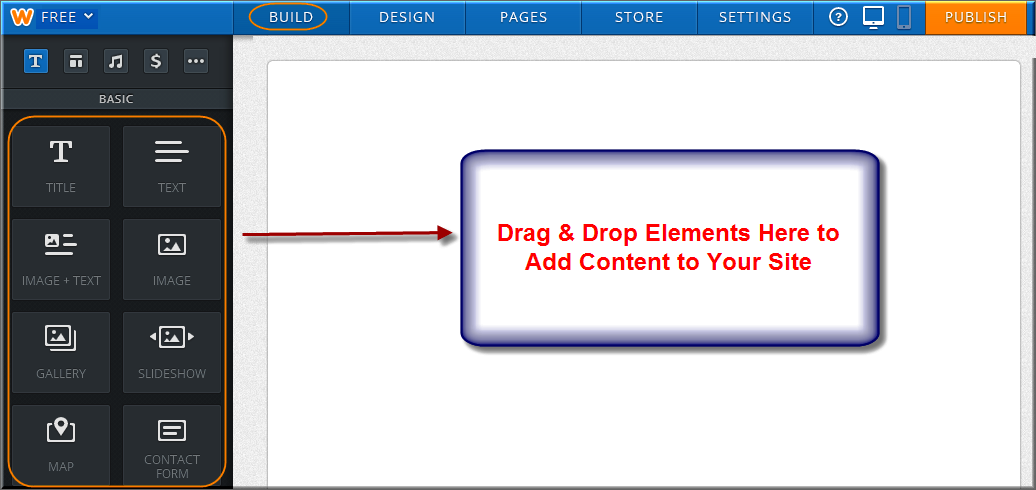 Drag & Drop Weebly Elements to Your Free Site