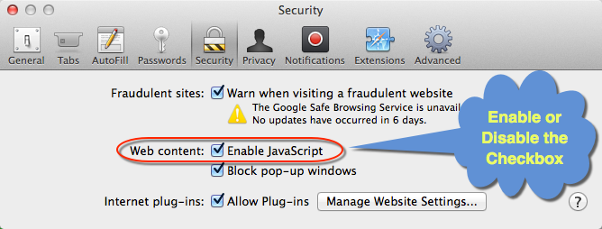 Enable or Disable JavaScript in Mac Safari OS X