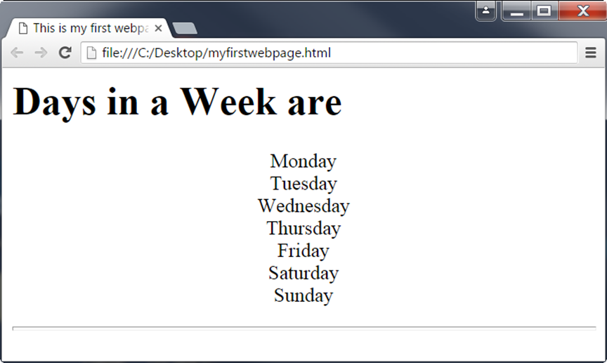 First HTML Page on Chrome Browser