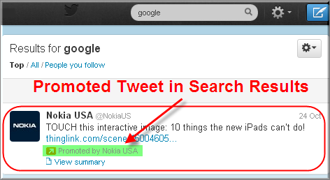 Promoted Tweets in Twitter Search Results