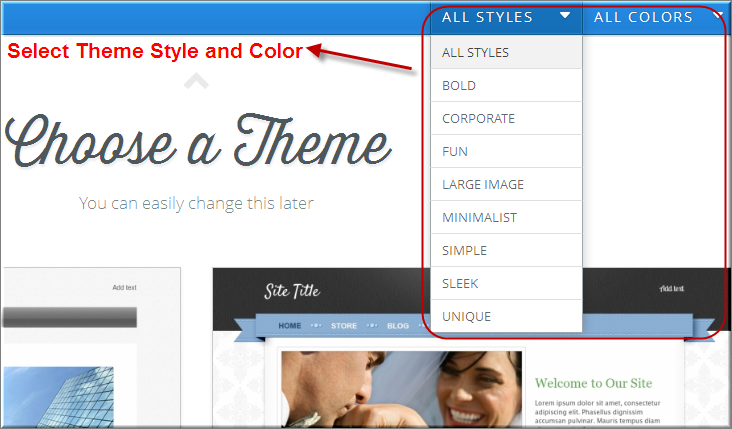 Weebly Theme Style and Color Selection
