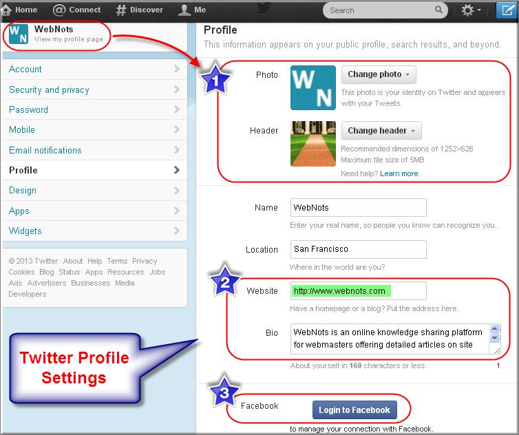 Twitter Profile Setting Options