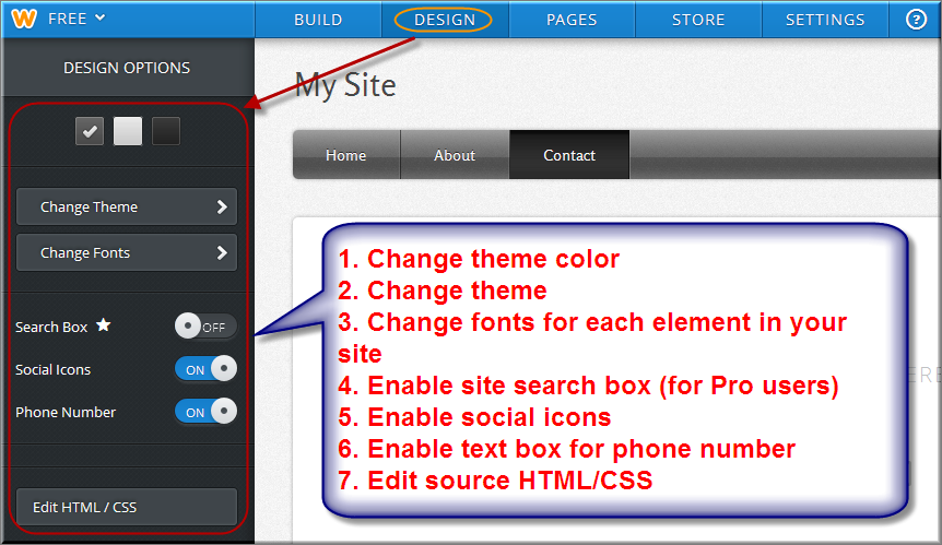 Weebly Design Tab Settings