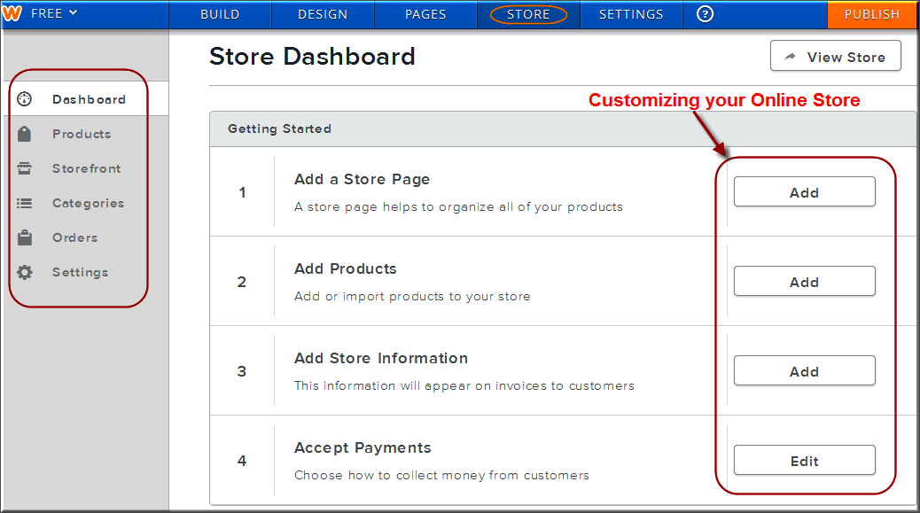 Weebly Online Store Settings