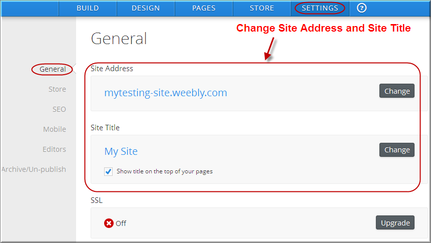 Weebly Settings General Tab