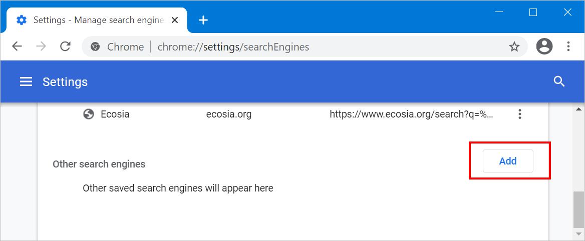 Add Custom Search Engine in Chrome