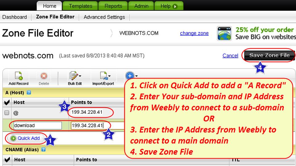 Редактировать файл зоны DNS GoDaddy