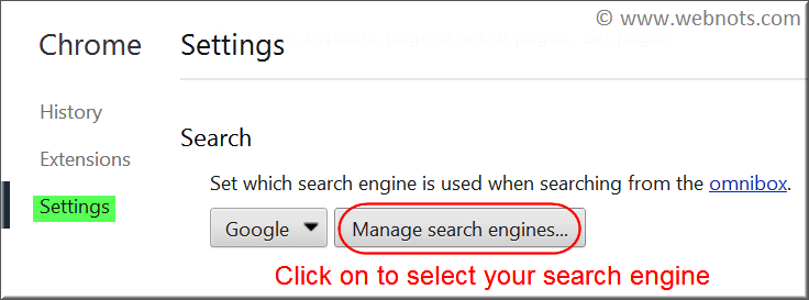 Managing Search Engines for Omnibox