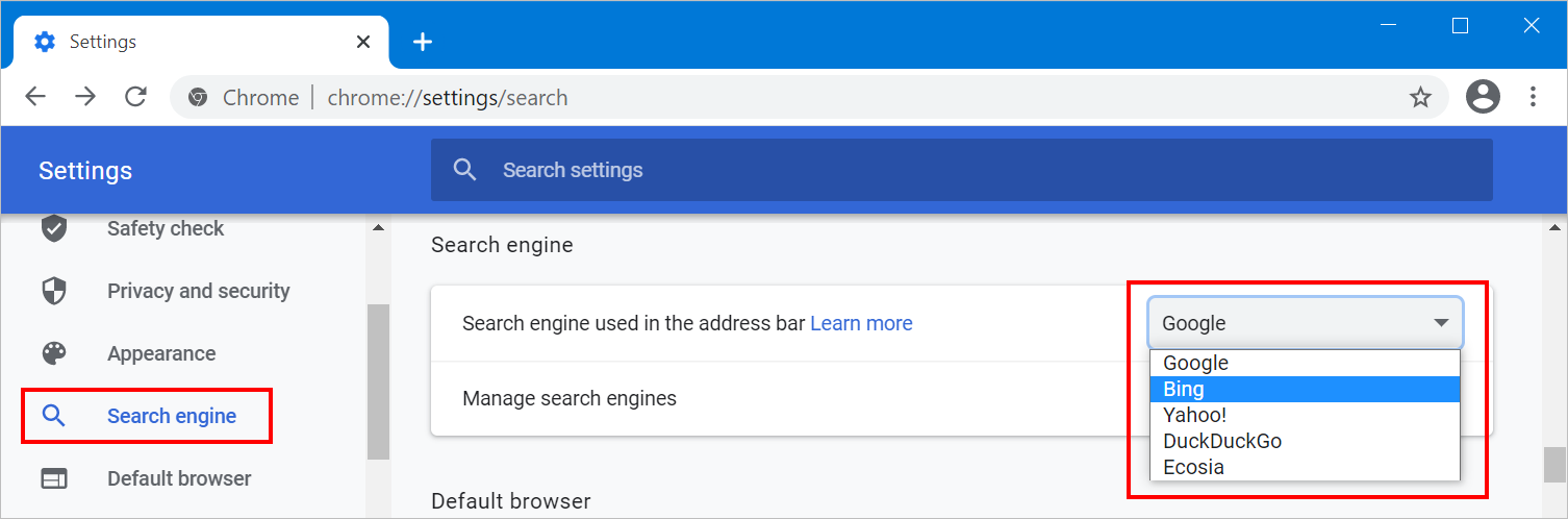 Select Search Engine in Chrome