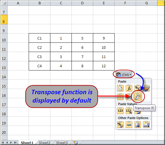 Transpose Function as Default