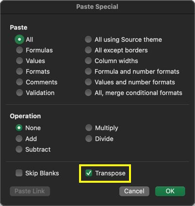 Transpose in Mac Excel