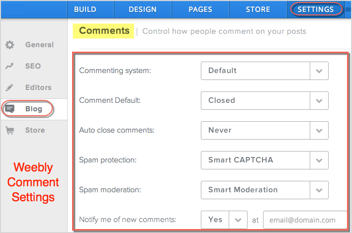Weebly Comment Settings