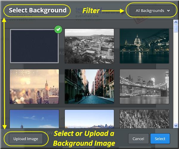 Choose or Upload Weebly Background image