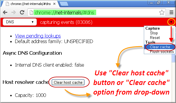Clear DNS Cache in Chrome