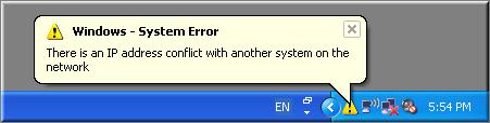 IP Conflict Error in Windows