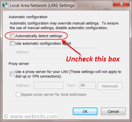 Remove Automatic Configuration Settings