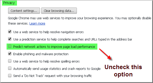 Uncheck Privacy Option in Google Chrome