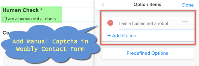 Add Manual Captcha in Weebly Contact Form
