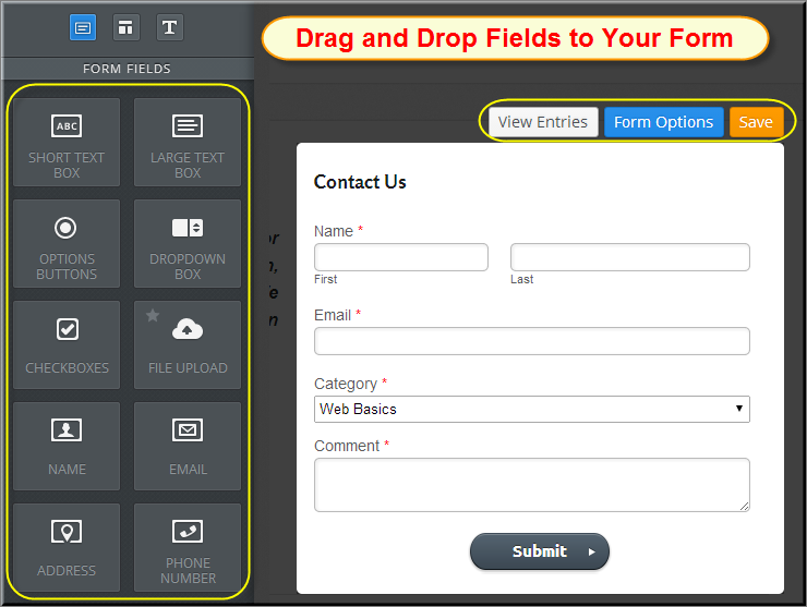 Drag and Drop Fields in Weebly Form