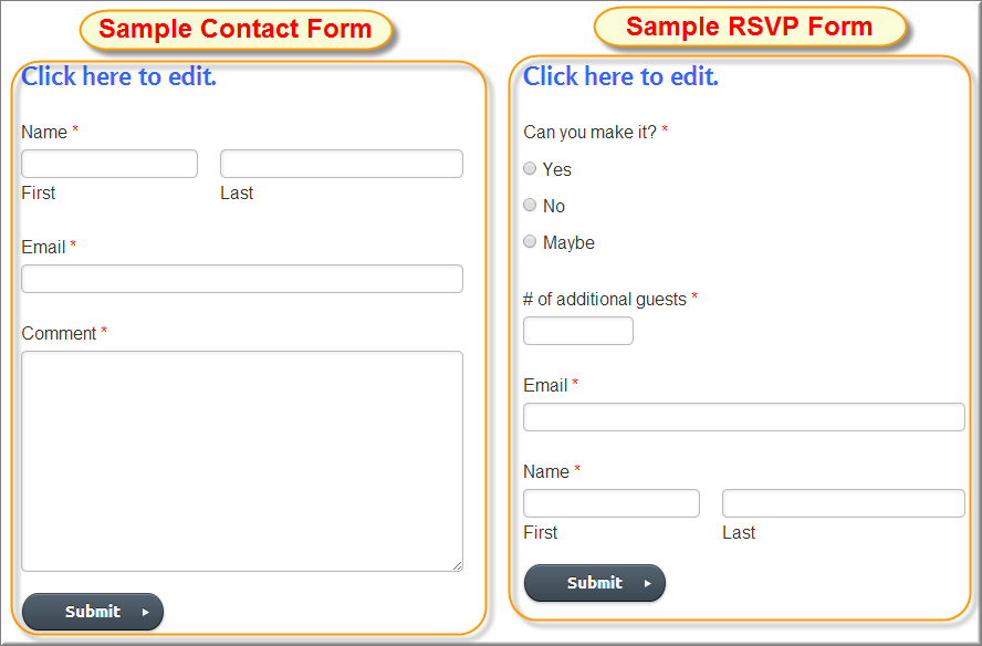 Sample Weebly Contact and RSVP Forms