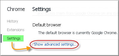 Showing Advanced Settings in Chrome