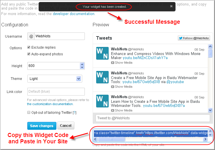Success Message and Code for Twitter Timeline Widget