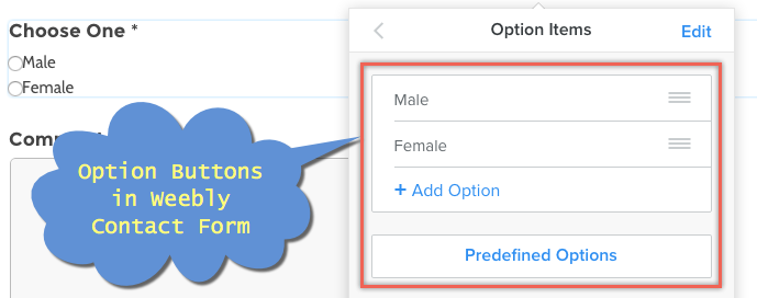 Using Option Buttons in Weebly Contact Form