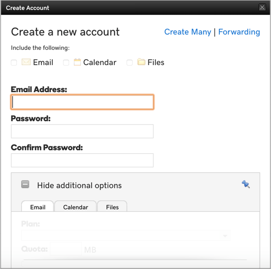 Create New Email Account