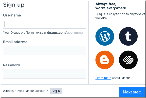 Disqus Signup Process