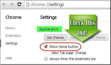 Enable Home Button in Chrome