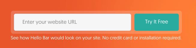 Enter URL in Hello Bar