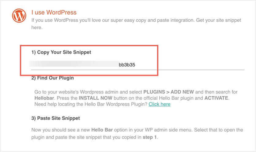 Hello Bar WordPress Code