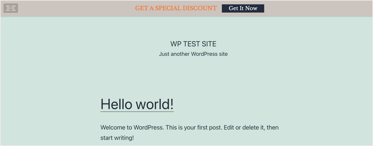 Hello Bar in Published WordPress Site