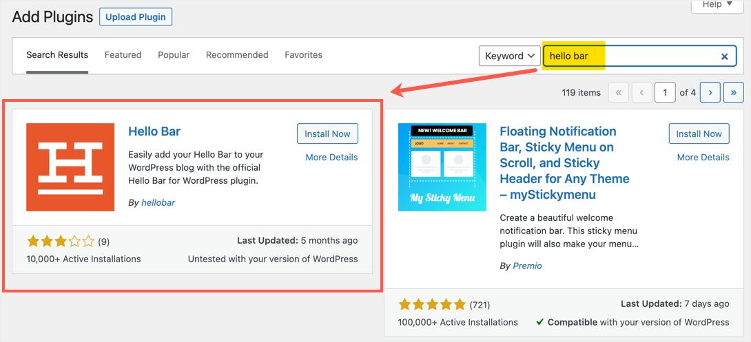 Install Hello Bar Plugin in WordPress