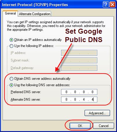 Set Google Public DNS