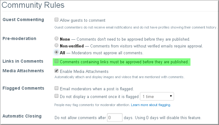 Setting Community Rules in Disqus