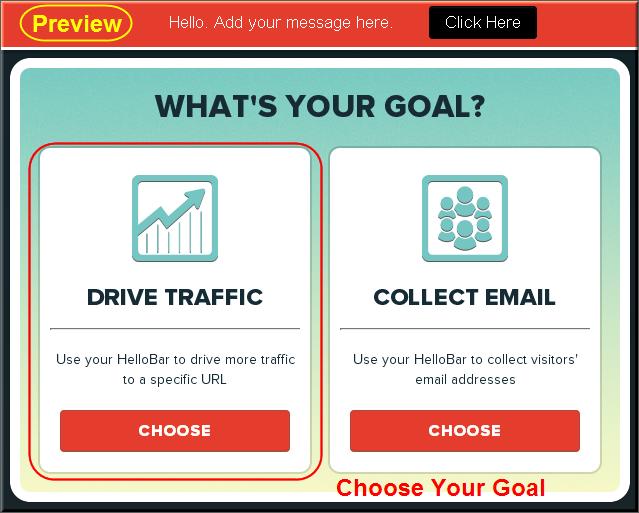 Step2 - Choosing Hello Bar Goal