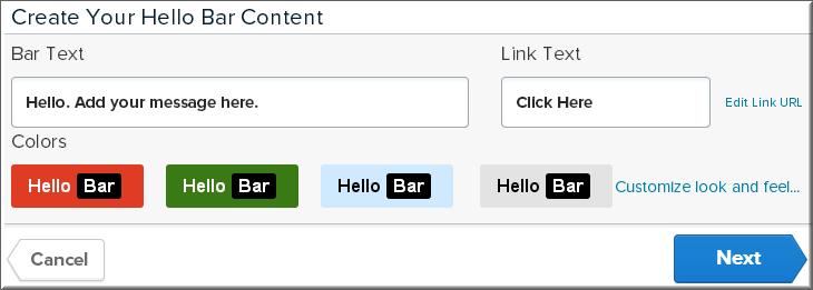 Step3 - Creating content for Hello bar