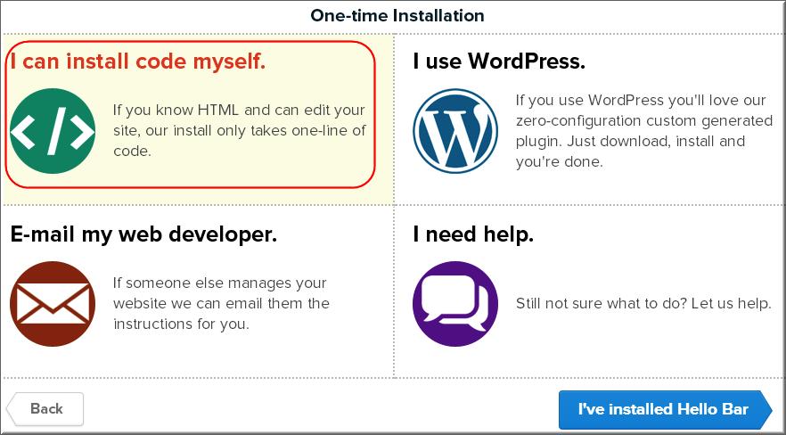 Step5 - Choosing Installation Platform for Hello Bar