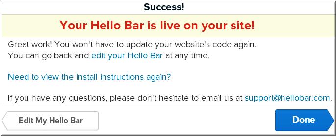 Step7 - Success Message after Hello Bar Installation