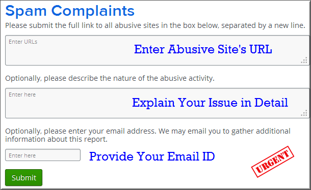 Weebly Spam Complaint