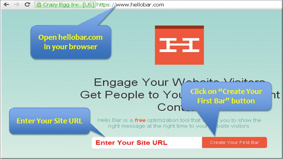 Добавить сайт в Hello Bar