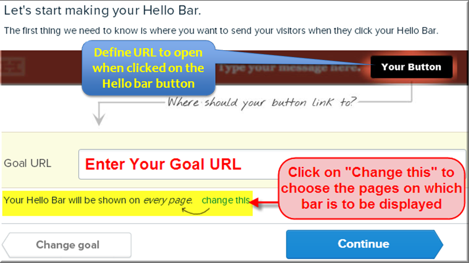 Определить URL цели в Hello Bar