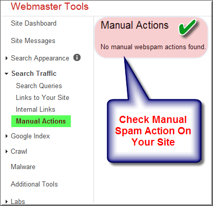 Manual Spam Check in Google Webmaster Tools
