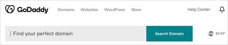 Поиск домена в GoDaddy