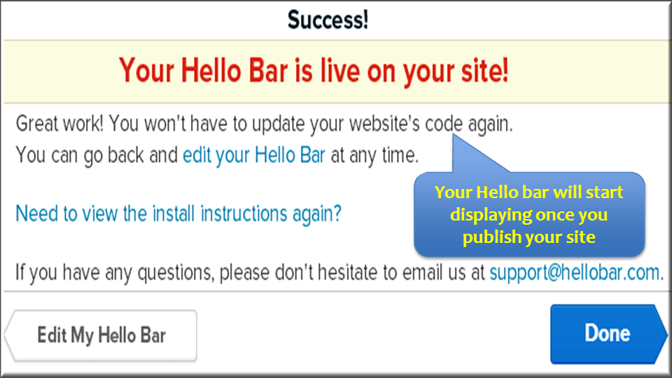 Success Message after Hello Bar Installation