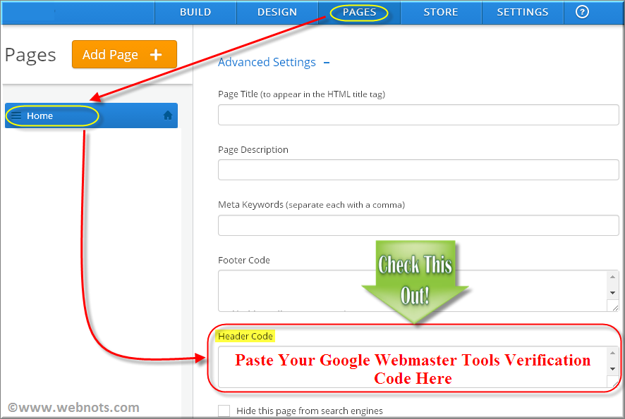 Add Google WMT Verification Code in Weebly Page