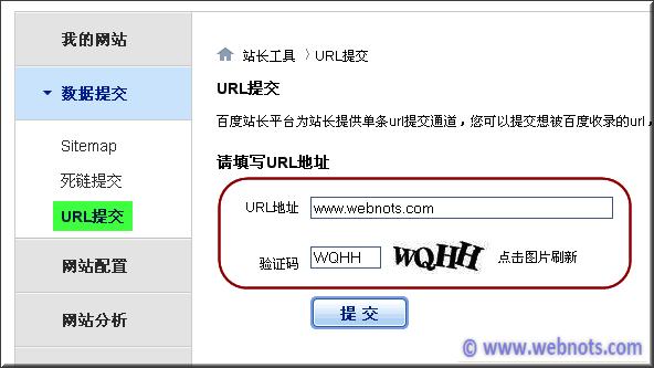 Adding URL in Baidu Webmaster Tool