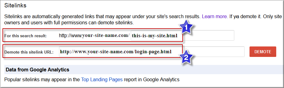 Demote Sitelink in Google Webmaster Tools