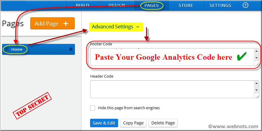 Install Analytics Code in Weebly Page